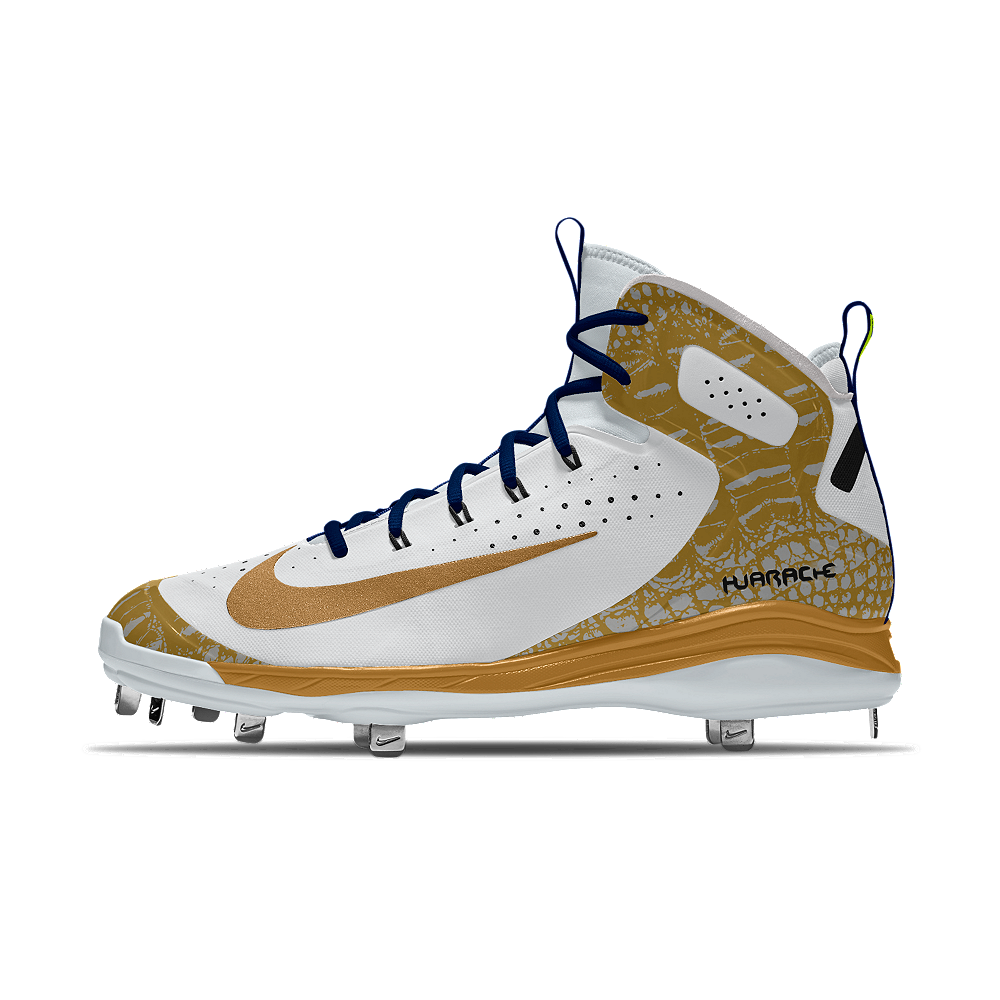 timeless design 851ca 67ddf Nike Alpha Huarache Elite Mid Metal iD Men s Baseball Cleats Size 8 (Gold)
