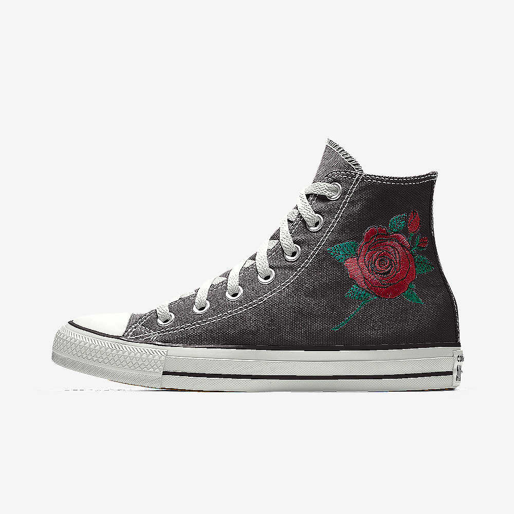 Custom All Stars >> Converse Custom Chuck Taylor All Star Rose Embroidery High Top Shoe